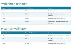 Bluebridge timetable