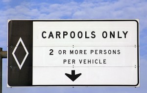 Carpooling road sign
