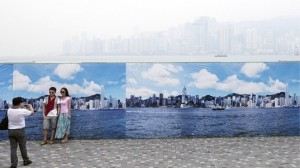 Fake skyline  for pollution in Hong-Kong
