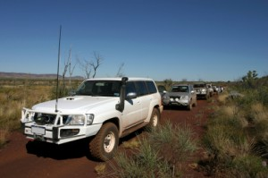 Travelling in a 4x4 in the Australian outback from Perth