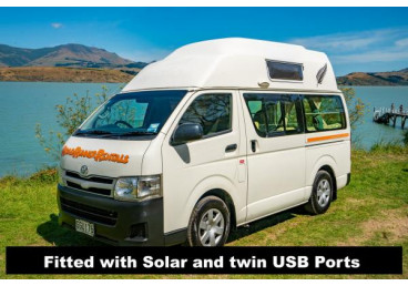 Lastest Model Toyota Hiace 3 Breth Camper,2.7 litre petrol, 5 Speed manual, with full kitchen gas cooker, fridge  etc. Now with Solar Panel and USB charge ports.All seatbelts in the front seat.
